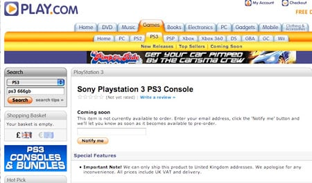 Play.com's 'new' PS3 entry