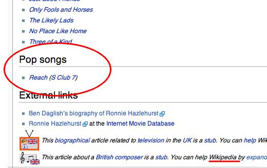 Wikipedia's bogus information on Ronnie Hazelhurst