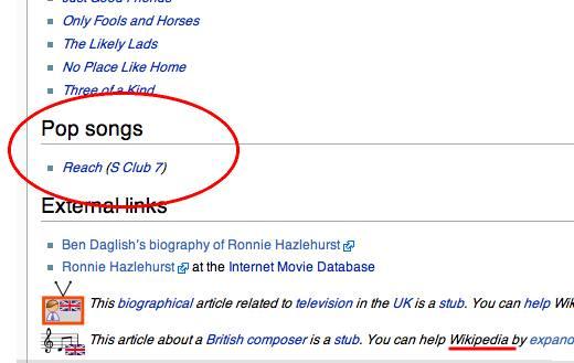 Wikipedia's bogus information on Ronnie Hazelhurst