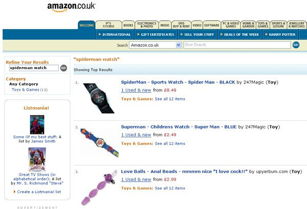 "Amazon screen grab showing anal beads in search results for ""spiderman watch"""