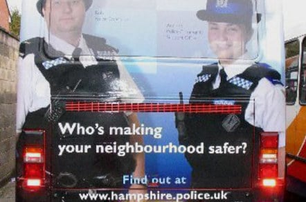 Hampshire police ad on bus with exhaust appearing from chap's trousers