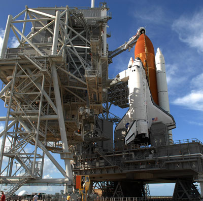 Discovery waits for launch. Credit: NASA