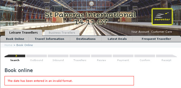 "Eurostar screen grab showing ""The date has been entered in an invalid format"""