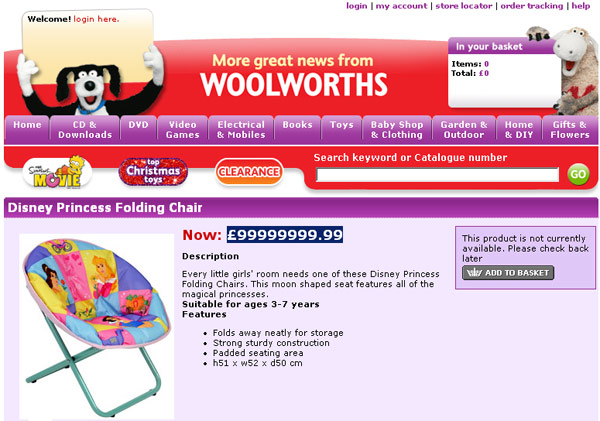 Screen grab of Woolworth's £1m Disney Princess chair offer