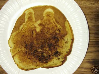 Pancake picturing Jesus and Mary?