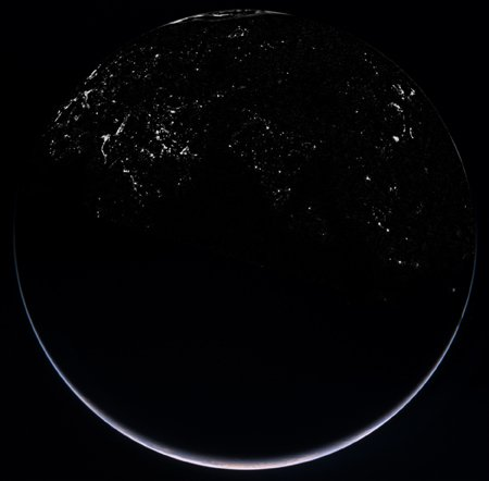 The Earth's night side, as seen by Rosetta. Credit: ESA