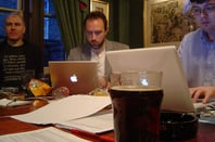 "David Gerard and Jimmy Wales, Wikipedia UK ""Bootstrap Meeting"""