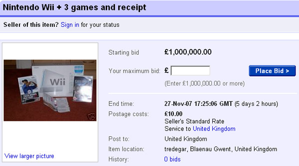 Screengrab of eBay auction showing Wii for £1m