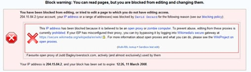 Judd Bagley Wikipedia Block Warning