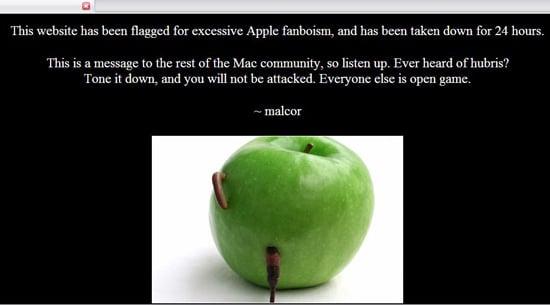 screenshot of defacement on iphonematters.com