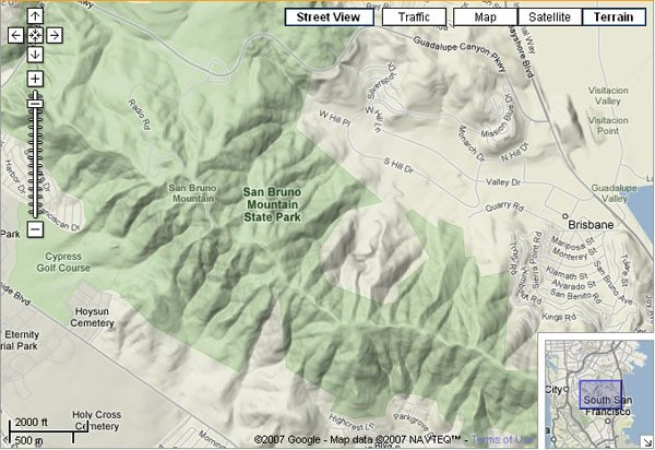 San Bruno Mountain State Park, San Francisco, as seen on Google Maps terrain layer