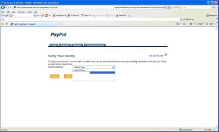 Screenshot of PayPal validation screen