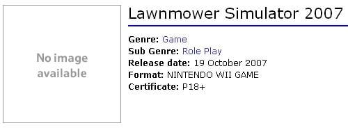 Lawnmower Simulator 2007 as seen on Tesco website, rated 18+