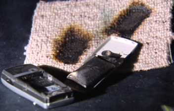 Norman Sievewright's burnt Nokia - image courtesy One News