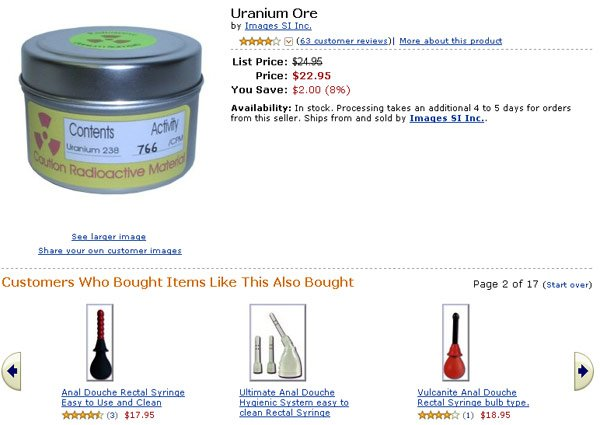 Amazon screen grab showing uranium ore and anal douche related items
