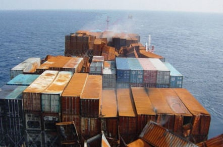 Container Vessel at Sea