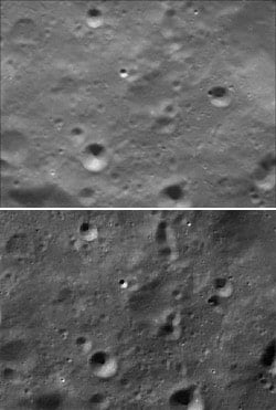 Same area of the moon as captured by Clementine and Chang'e 1