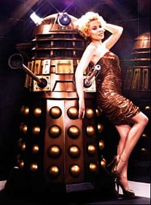 Kylie Minogue poses with Dalek