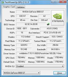 Asus EN8800GT TOP CPU-Z