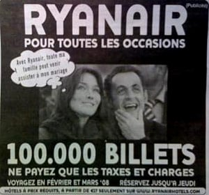 Ryanair ad featuring Sarko and Bruni