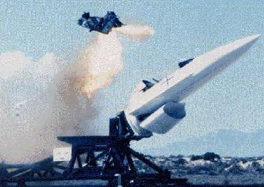 Ejection seat test at Holloman high-speed track