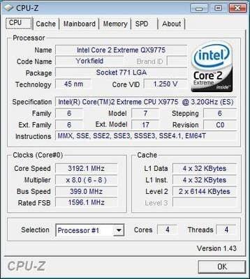 Intel Skulltrail - CPU-Z