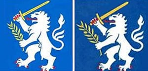 The Nordic Battlegroup crest - before and after