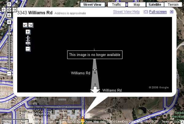 Screengrab of Google Maps showing Street View images of Fort Sam removed