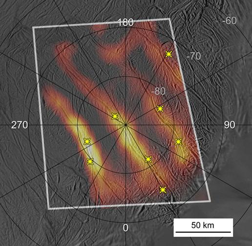 Composite Infrared Spectrometer image of Enceladus's south polar region. Pic: NASA