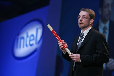 Intel SVP Pat Gelsinger holding a red stick