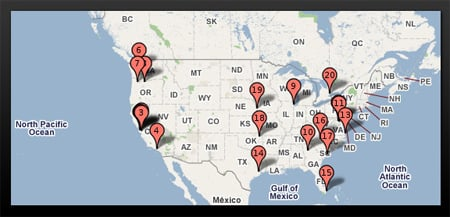 Pingdom US Google Data Center Map