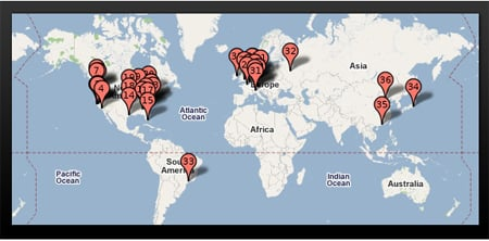 Pingdom Worldwide Google Data Center Map