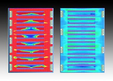 Shot showing a red hot normal systems versus cool blue idataplex box