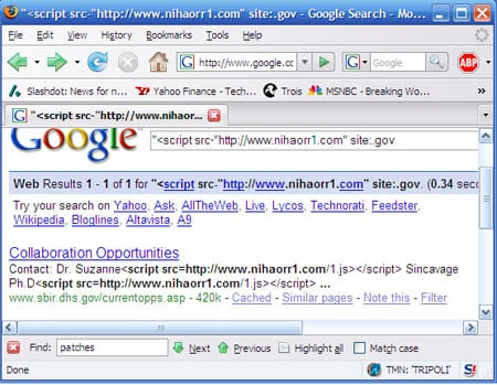 Screenshot of Google search showing DHS website
