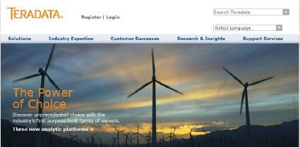 Shot of windmill on Teradata's site