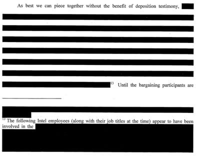 As best we can piece together without the benefit of deposition testimony [redacted].(The following Intel employees (along with their job titles at the time) appear to have been involved in the [redacted].) Until the bargaining participants are [redacted].