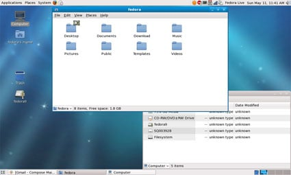 Shot of the default GNOME theme in Fedora 9