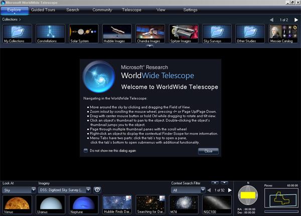 WorldWide telescope landing page