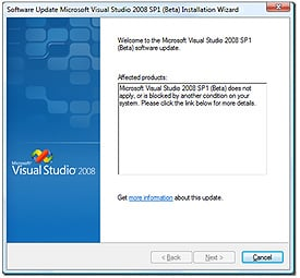 VS08 SP1 beta silverlight2 error