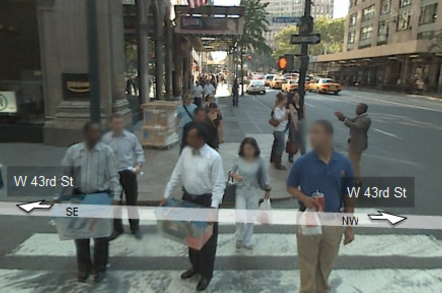 Street View image of Manhattan with blurred faces