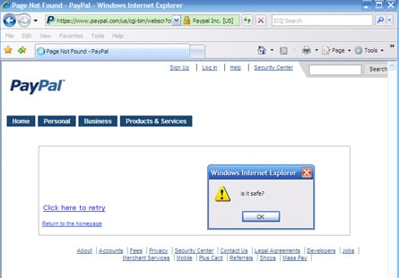 Screenshot showing PayPay XSS vulnerability