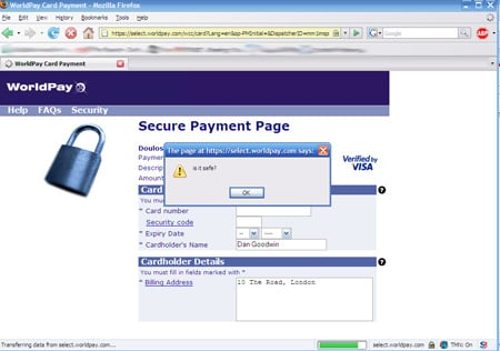 Screenshot of vulnerable Worldpay page