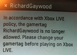 Xbox Live screengrab showing that Gaywood is no longer allowed