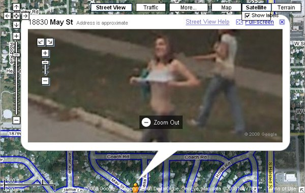 Street View screen-grab showing girl flashing her breasts