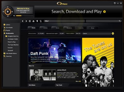 QTrax offers free, ad-supported music downloads