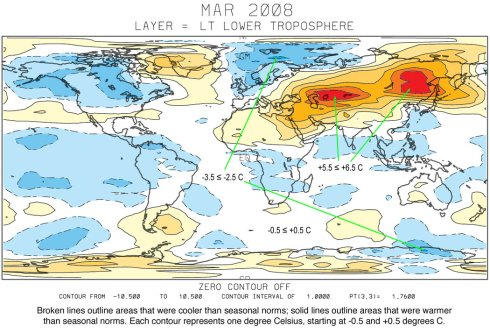 UAH Satellite Temperatures March, 2008 - looks cool