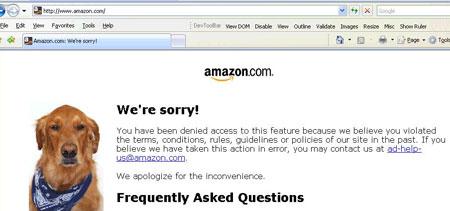 Screenshot of Amazon page with dog