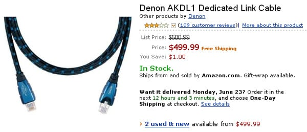 The Denon AKDL1 Dedicated Link Cable as seen on Amazon