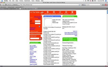 Screenshot of Firefox visiting compromised website