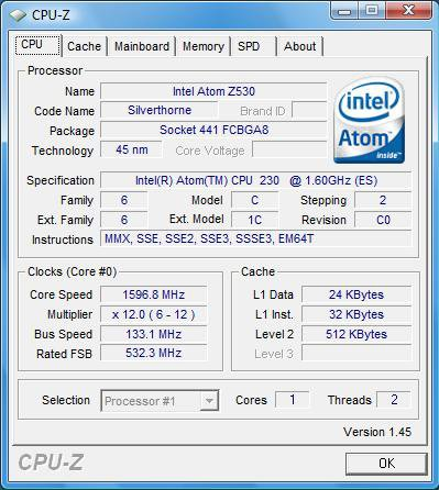 Intel Atom 230 - CPU-Z